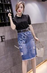 Ołówkowa jeansowa spódnica damska z dziurami 315
