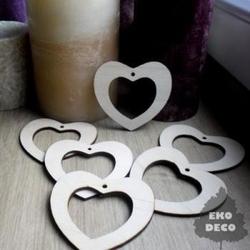 Drewniana dekoracja serce 7x6,5 cm - SERC