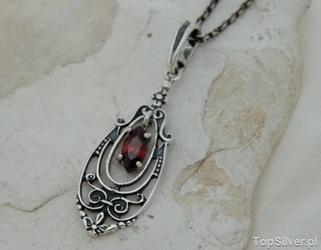 Elemis - srebrny wisiorek z granatem