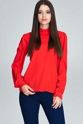Czerwona bluzka ze stójką z riuszką