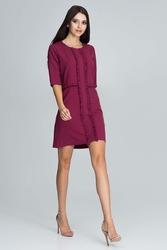 Bordowa elegancka krótka sukienka z falbankami