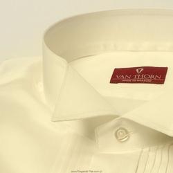 Elegancka śmietankowa ecru koszula smokingowa - normal fit 45