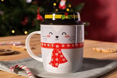Kubek porcelanowy świąteczny dla dzieci  na prezent altom design myszka z pokrywką 330 ml