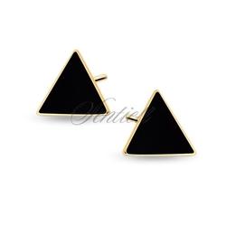 Srebrne pozłacane kolczyki pr.925 czarne emaliowane trójkąty - żółte złoto