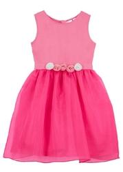 Sukienka dziewczęca z kwiatową aplikacją bonprix ciemnoróżowy