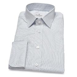 Biała koszula van thorn w niebieską kratę z kołnierzykiem półwłoskim  48