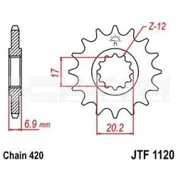 Zębatka przednia jt f1120-13, 13z, rozmiar 420 2201602 malaguti xtm 50, motorhispania rx 50