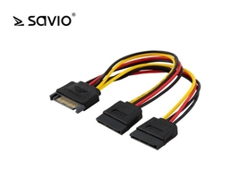 Elmak kabel zasilający  adapter sata 15pin m - 2xsata 15pin f savio ak-17 10szt. paczka