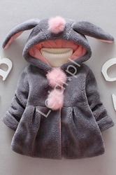 Szare futerko króliczek z pomponami dla dziewczynek 063