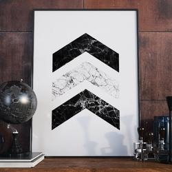 Plakat w ramie - marble destination , wymiary - 60cm x 90cm, ramka - biała