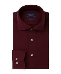 Elegancka bordowa koszula męska z dzianiny slim fit 43