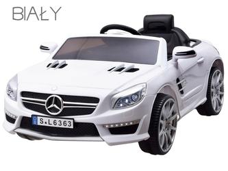 Mercedes sl63 biały samochód na akumulator + pilot dla rodzica
