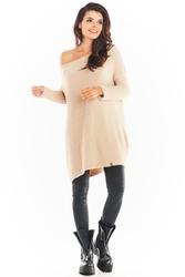 Swetrowa sukienka oversize - beżowy