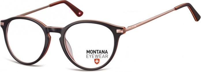 Okrągłe oprawki optyczne,lenonki korekcyjne montana ma63d ciemny brązowy + pomarańczowy