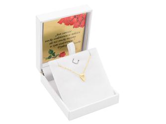 Srebrny Naszyjnik pr. 925 serce złocony z zawieszką i blaszką przy zapięciu 41-44,5 cm GRAWER różowa kokardka