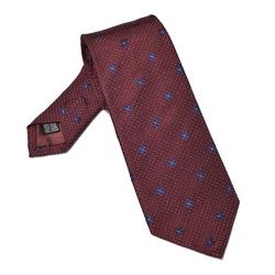 Bordowy krawat jedwabny w kropeczki i kwiatki