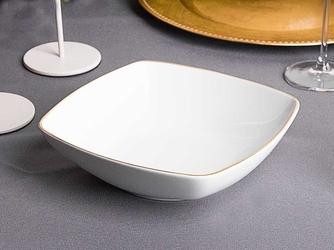 Talerz głęboki do zupy porcelana mariapaula moderna gold 20,5 cm kwadratowy ze złotym zdobieniem