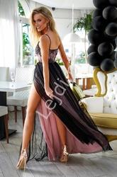 Fenomenalna sukienka wieczorowa, czarna z podbitką w brudnym różu, stella