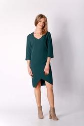 Zielona klasyczna prosta sukienka z asymetrycznym rozporkiem