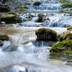 Obraz na płótnie canvas czteroczęściowy tetraptyk wiosenny wodospad