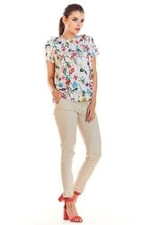 Ecru krótka bluzka w kwiaty z pionowymi falbankami