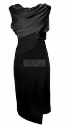 Czarna sukienka midi z szyfonem w stylu victoria beckham  r.34 - r.52, duże rozmiary mon 146