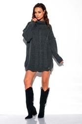 Grafitowy sweter-tunika z golfem w warkocze