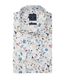 Męska biała koszula w kwiecisty wzór 37
