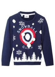Sweter w płatki śniegu bonprix niebieski
