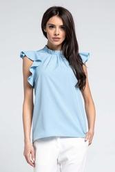 Niebieska elegancka bluzka z riuszką