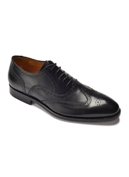 Eleganckie czarne skórzane buty męskie typu brogue 43