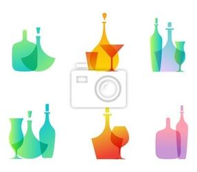 Naklejka butelka szklana ikony
