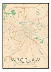 Wrocław mapa kolorowa - plakat Wymiar do wyboru: 29,7x42 cm