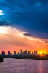 Warszawa zachód słońca nad wisłą - plakat premium wymiar do wyboru: 70x100 cm