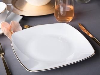 Talerz płytki  obiadowy porcelana mariapaula moderna gold 25 cm kwadratowy ze złotym zdobieniem