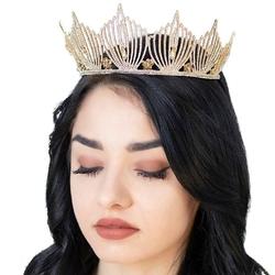 Diadem korona cyrkonie bogato zdobiony ślub złoty