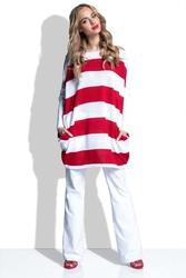 Czerwona tunika swetrowa oversize w pasy
