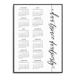 Artful - kalendarz 2020 w ramie , wymiary - 70cm x 100cm, kolor ramki - czarny