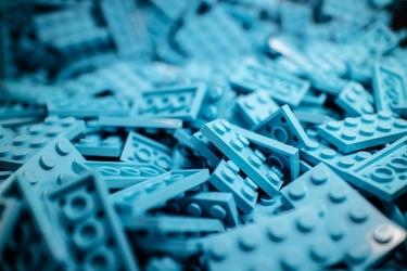 Fototapeta na ścianę kolekcja niebieskich klocków  fp 4293