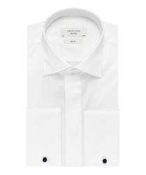 Elegancka biała koszula smokingowa Profuomo Sky Blue do muchy, mankiety na spinki, kryta listwa. 42