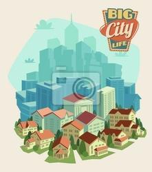 Plakat życie miasta w tle