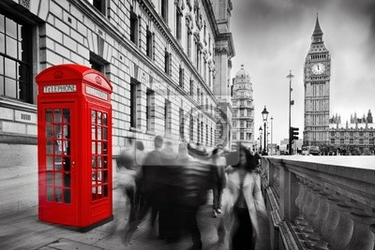 Fototapeta czerwone budki telefoniczne i big ben w londynie, anglii, wielkiej brytanii.