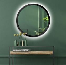 Okrągłe lustro scandinavia bold z oświetleniem led z czarną ramą