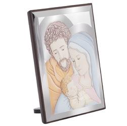 Srebrny obrazek święta rodzina w kolorze pamiątka chrztu św. z grawerem