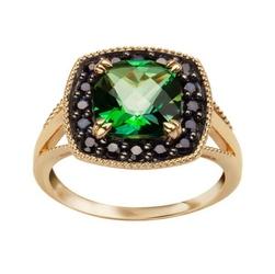 Staviori pierścionek. 1 topaz zielony, masa 2,45 ct.. 16 szafirów, masa 0,28 ct.. żółte złoto 0,585.