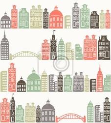 Naklejka bezszwowe tło z kolorowymi sylwetce miasta
