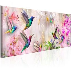 Obraz - kolorowe kolibry 1-częściowy wąski