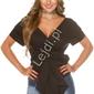 Bawełniana koszula wiązana w pasie kokardą h9495, czarna