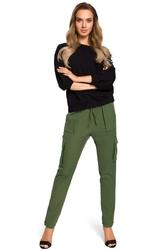 Zielone spodnie na gumie z kieszeniami typu kargo