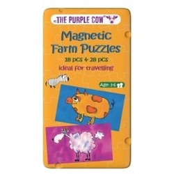 The purple cow, gra magnetyczna puzzle farma